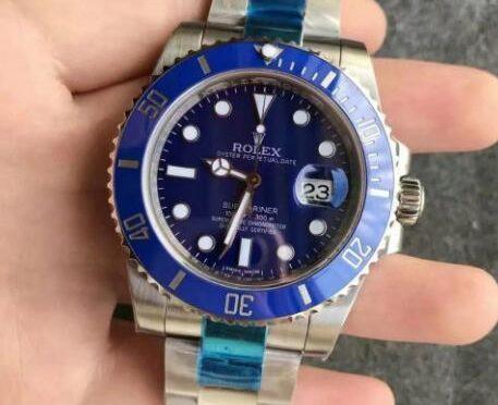 Replica Rolex Submariner Date 116619LB-97209 Kék Tárcsával